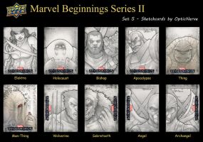 Marvel Beginnings 2 sketchcards - Set 5 by theopticnerve