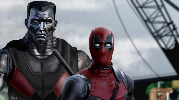 Deadpool and Colossus GIMP Drawing by Britsie1