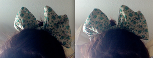 Green and Yellow Floral Hair Bow by JunieChan