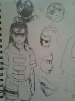 Neji and Kakashi Sketch by Dreballin3x