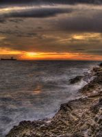 waves in the sunset-HDR by JurajParis