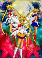 Sailor Moon x 3 by NightSMars