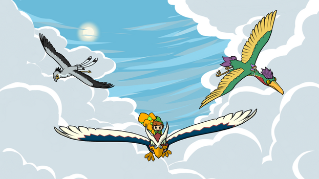 Commission - Dive Among the Clouds by swordxdolphin