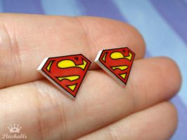 Superman earrings studs by voodoogrl