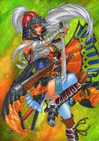 SAMURAI girl with big feathers on helm by GunaSyuu
