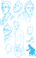 Tintin Sketchdump by HollywoodVoodoo