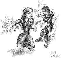 Robin vs Scarlet Witch (Thing a Day 2014 #338) by RedBlupi