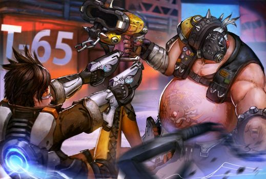Overwatch Tracer vs Roadhog by Timkongart