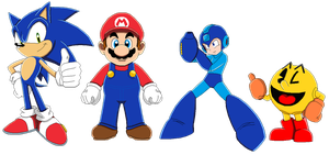 Mario, Sonic, Pac-Man and Mega Man by MollyKetty