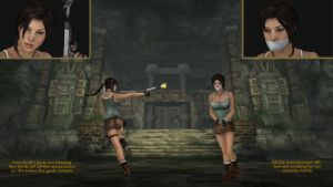 Lara Croft in the gods' temple by honkus2