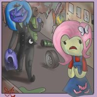 Luna Petrikov and Flutterbat 1 (MLP-AT crossover) by ChibiWendy