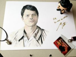 Supernatural Castiel - Misha Collins by littlemissbaggins