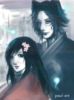 the young girl and the kitsune. by purenai