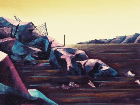 Desolate shore (oil on canvas) by Babonga