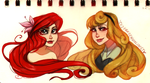 Ariel and Aurora: Concept Art by FROZENVIOLINIST