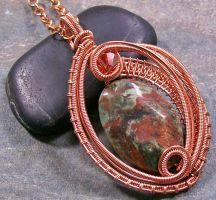 Woven Oval African Green Opal and Copper Pendant by HeatherJordanJewelry
