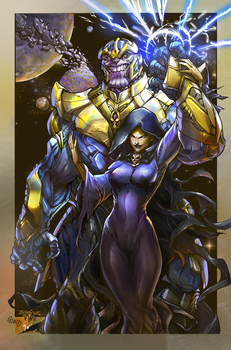 Thanos and Mistress Death erasing planets by IvannaMatilla