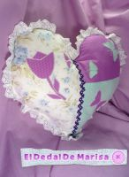 Heart Flower Pillow by MrsSewing