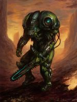 Alien Chainsaw Marine by Vablo