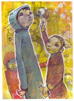 Double Bubble -work on paper by jasinski