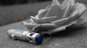 Rose and Sonic Screwdriver (blue) by DragonFreedom6