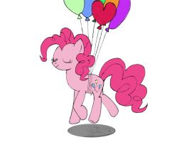 Pinkie flying with her balloons (colorized) by Xtli