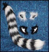 Custom Lg Black And White Cat Tail And Ears Set by StuffItCreations