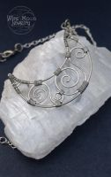 Hammered Handmade Wire Crescent Moon Necklace by WireMoonJewelry