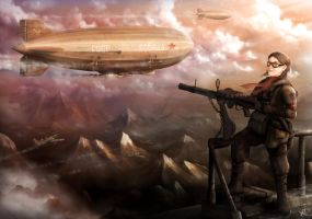Airship gunner by maketsu
