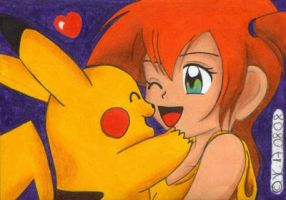 Misty and Pikachu 'cuddlin' by JunAkera