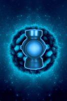 Blue Lantern Battery Space background by KalEl7