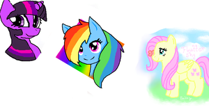 Rainbow, Flutter and Twilight by CookieYumYum
