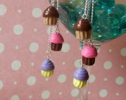 Tiny Cupcake Dangle Earrings by manditaaknfv