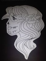 Simple line, Girl tattoo design by AdamCareless