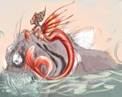 WIP: mermaid and fish 2 by driany