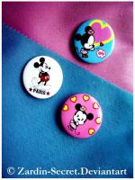 Mickey And Minnie Pins by zardin-secret