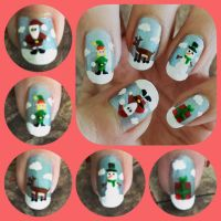 Christmas Nail Art 2016 Left by MikariStar
