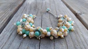 Blue agate Mother of pearl silver ocean bracelet by Joshou