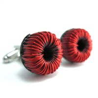 Red Wire Toroids Cufflinks by Techcycle