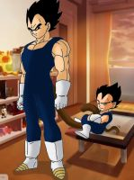 For mrsdbzfan Vegeta and Vegeta Jr by DarkAngelxVegeta