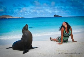 Galapagos- Woman and Seal by PaulVonGore