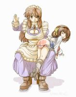 Haruhi and the maid by s-mew