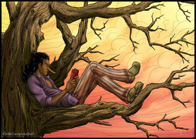 Usopp reading in a tree by Chronomorphosis