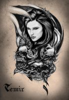 Girl in skull and roses by TimHag