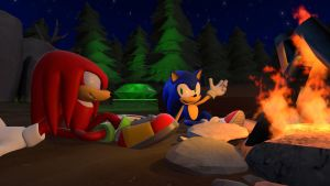 Sonic N' Knuckles By The Fire by TheRiverKruse