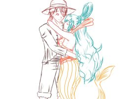 Sketch: Luffy and Shirahoshi by HannaEsser