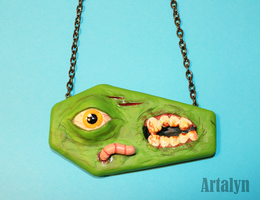 Zombie Coffin Necklace by Artalyn