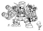 SD HeavyArms Custom lineart by Mintyrobo