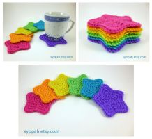 Rainbow Star Coasters by syppahscutecreations