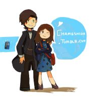 The doctor and Clara by tunaniverse